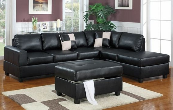Most Current Poundex F7355 3 Pc Latitude Run Lyke Black Faux Leather Within Copenhagen Reversible Small Space Sectional Sofas With Storage (View 8 of 20)