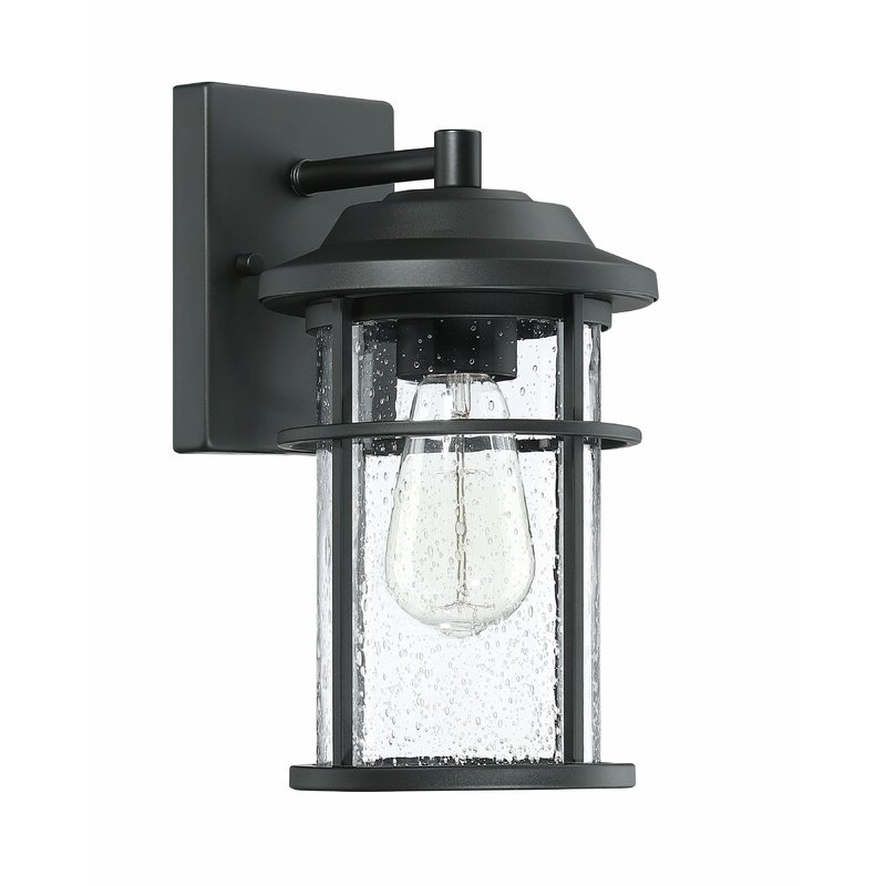 Most Current Red Barrel Studio® Ledah Matte Black Seeded Glass Outdoor In Ballina Matte Black Outdoor Wall Lanterns With Dusk To Dawn (View 18 of 20)