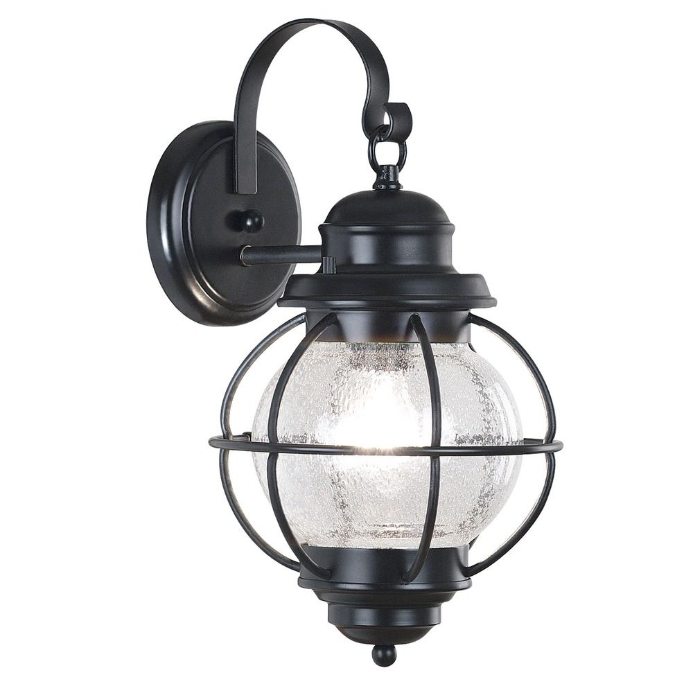 Most Current Seeded Glass Outdoor Wall Light Black Kenroy Home Lighting Inside Palma Black/clear Seeded Glass Outdoor Wall Lanterns (View 6 of 20)