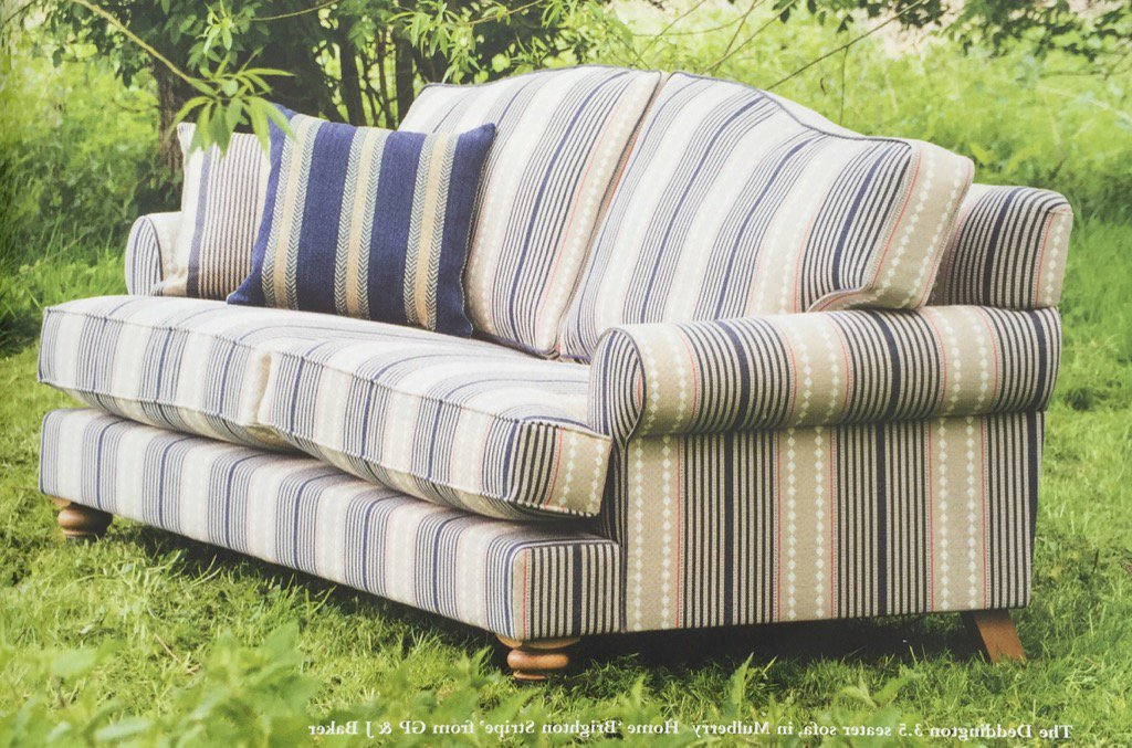 Most Current Striped Fabric Sofas Gray Striped Sofa Grey Fabric With Intended For Radcliff Nailhead Trim Sectional Sofas Gray (View 16 of 20)