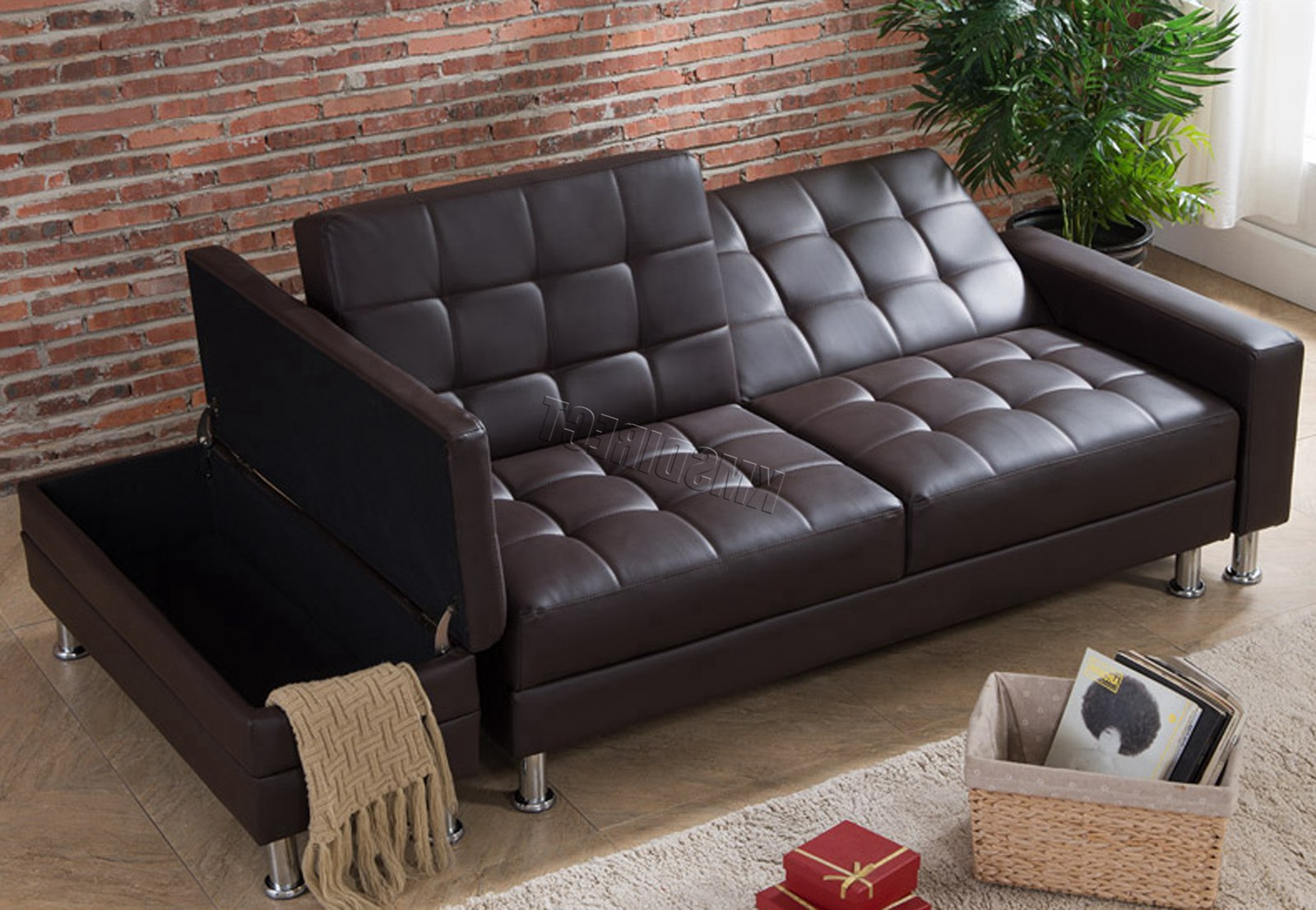 Most Current Westwood Pu Sofa Bed With Storage 3 Seater Guest Sleeper Within Hartford Storage Sectional Futon Sofas (View 6 of 20)