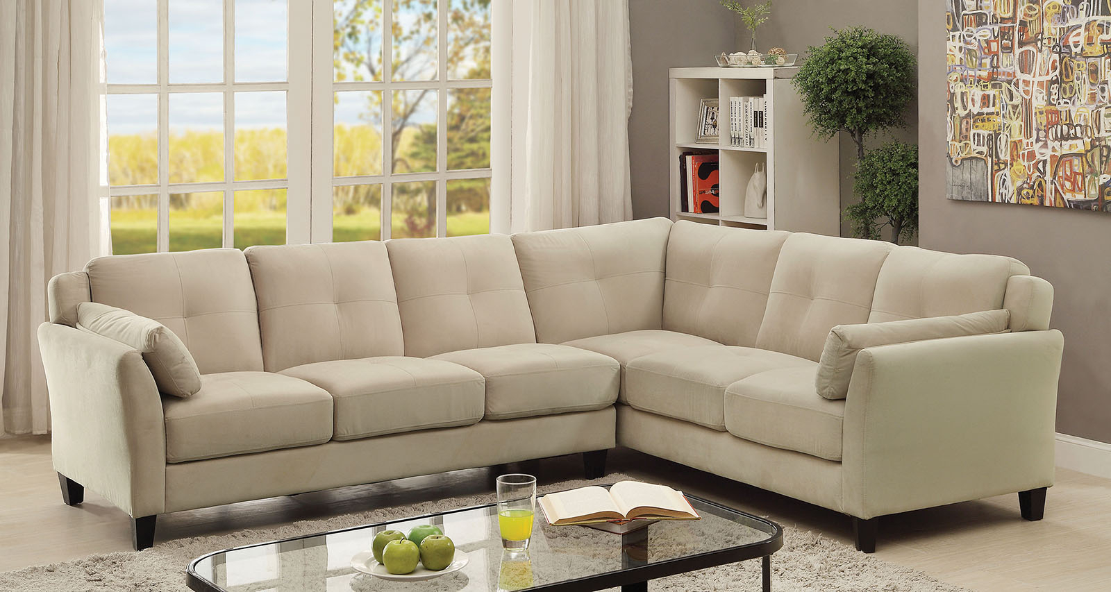 Most Popular 6368bg Beige Contemporary Sectional Sofa Furniture Of With Regard To Beige Sofas (View 14 of 20)