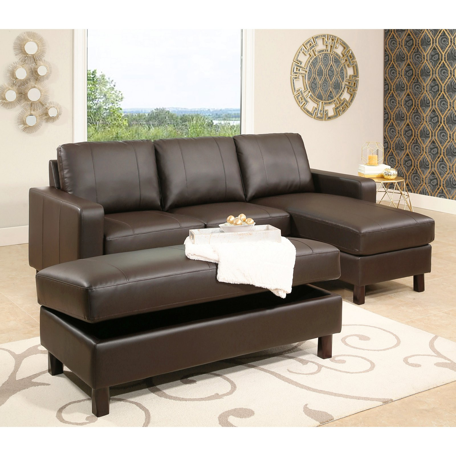 Most Popular Abbyson Cedar Leather Reversible Sectional Sofa With Inside Copenhagen Reversible Small Space Sectional Sofas With Storage (View 10 of 20)