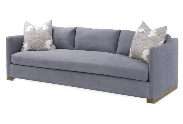 """Most Popular Brayson Chaise Sectional Sofas Dusty Blue With Corinne 96"""" Linen Sofa, Dusty Blue (View 20 of 20)"""