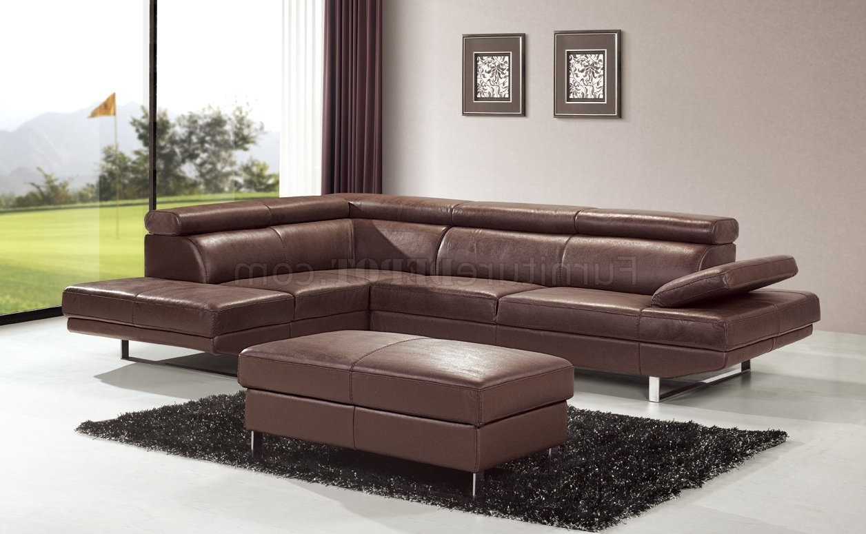 Most Popular Brown Top Grain Full Leather Modern Sectional Sofa W/metal Within 3pc Ledgemere Modern Sectional Sofas (View 13 of 20)