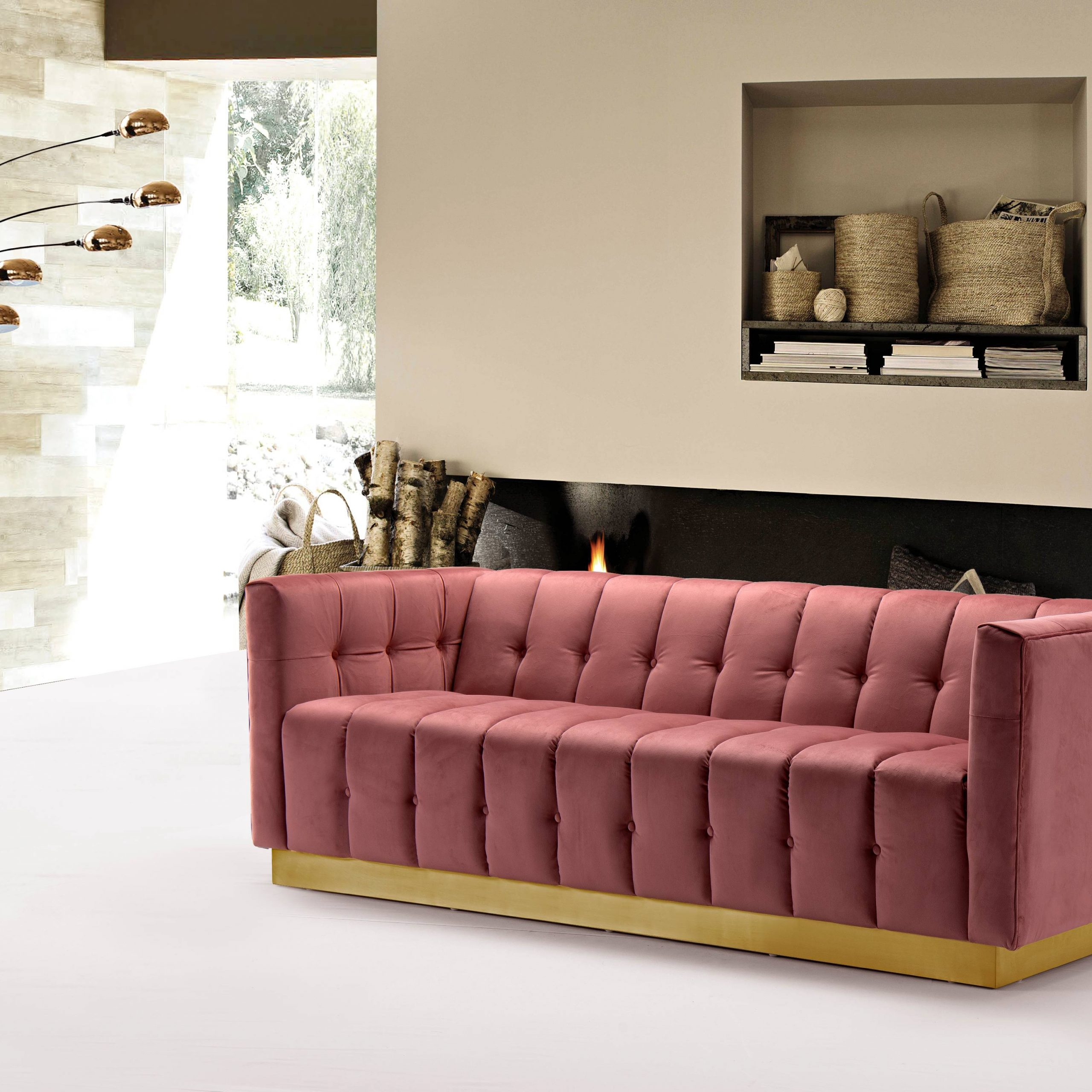 Most Popular Chic Home Aviv Velvet Upholstered Channel Quilted Single With French Seamed Sectional Sofas In Velvet (View 3 of 20)