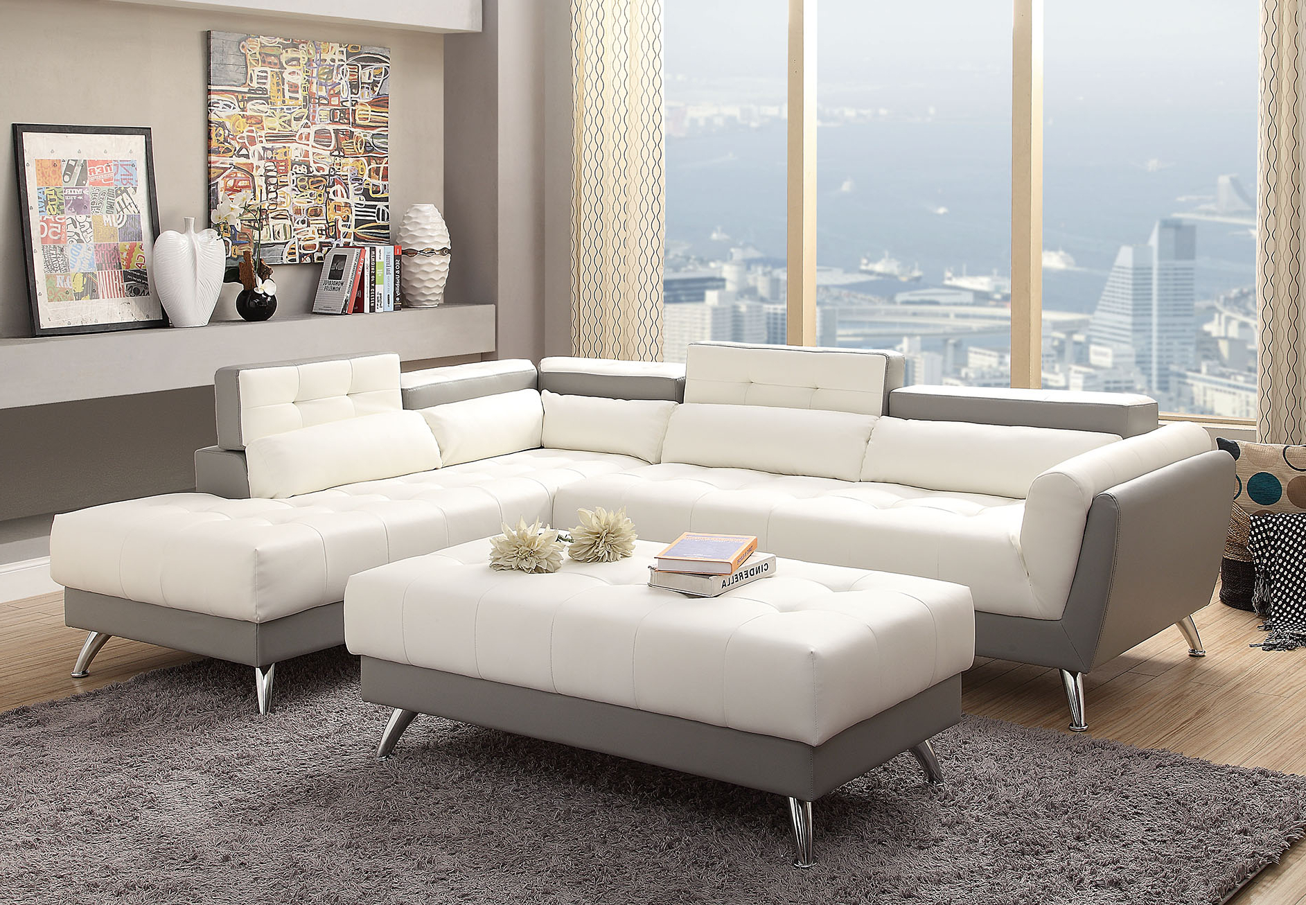 Most Popular Contemporary Sectional Sofa – Miami Gallery Furniture Inside Wynne Contemporary Sectional Sofas Black (View 17 of 20)