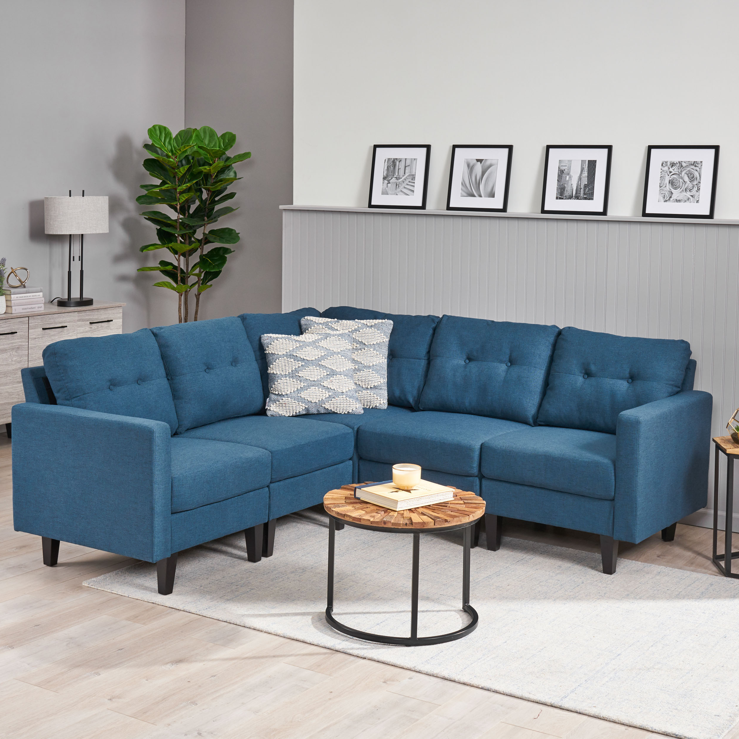 Most Popular Dulce Mid Century Chaise Sofas Dark Blue Intended For Noble House Miller Mid Century Modern 5 Piece Fabric (View 1 of 20)