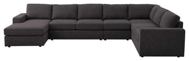 Most Popular Element Left Side Chaise Sectional Sofas In Dark Gray Linen And Walnut Legs In Tifton Modular Sectional Sofa With Reversible Chaise In (View 19 of 20)