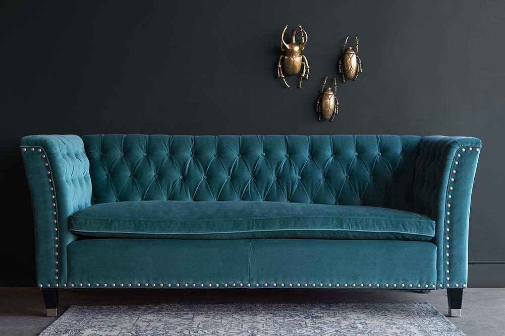 Most Popular French Seamed Sectional Sofas In Velvet In Teal Velvet Chesterfield Seater Sofa With Stud Detail (View 12 of 20)