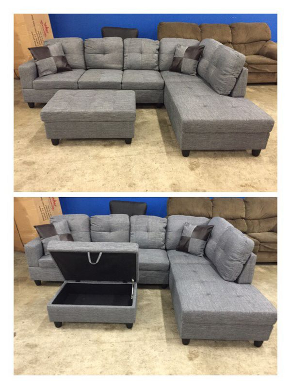 Most Popular Gneiss Modern Linen Sectional Sofas Slate Gray Regarding Modern Grey Linen Sectional Couch For Sale In Kirkland, Wa (View 14 of 20)