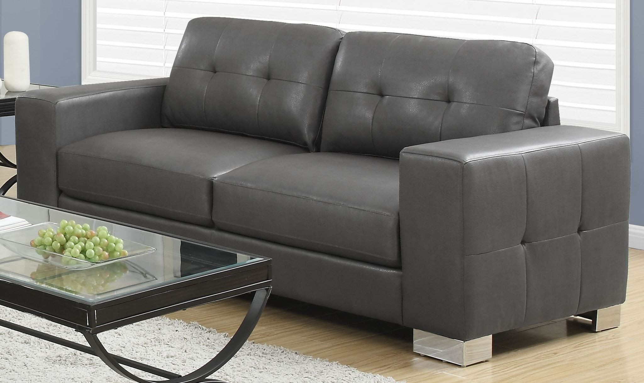 Most Popular Gray Sofas Pertaining To 8223gy Charcoal Gray Bonded Leather Sofa From Monarch (View 11 of 20)