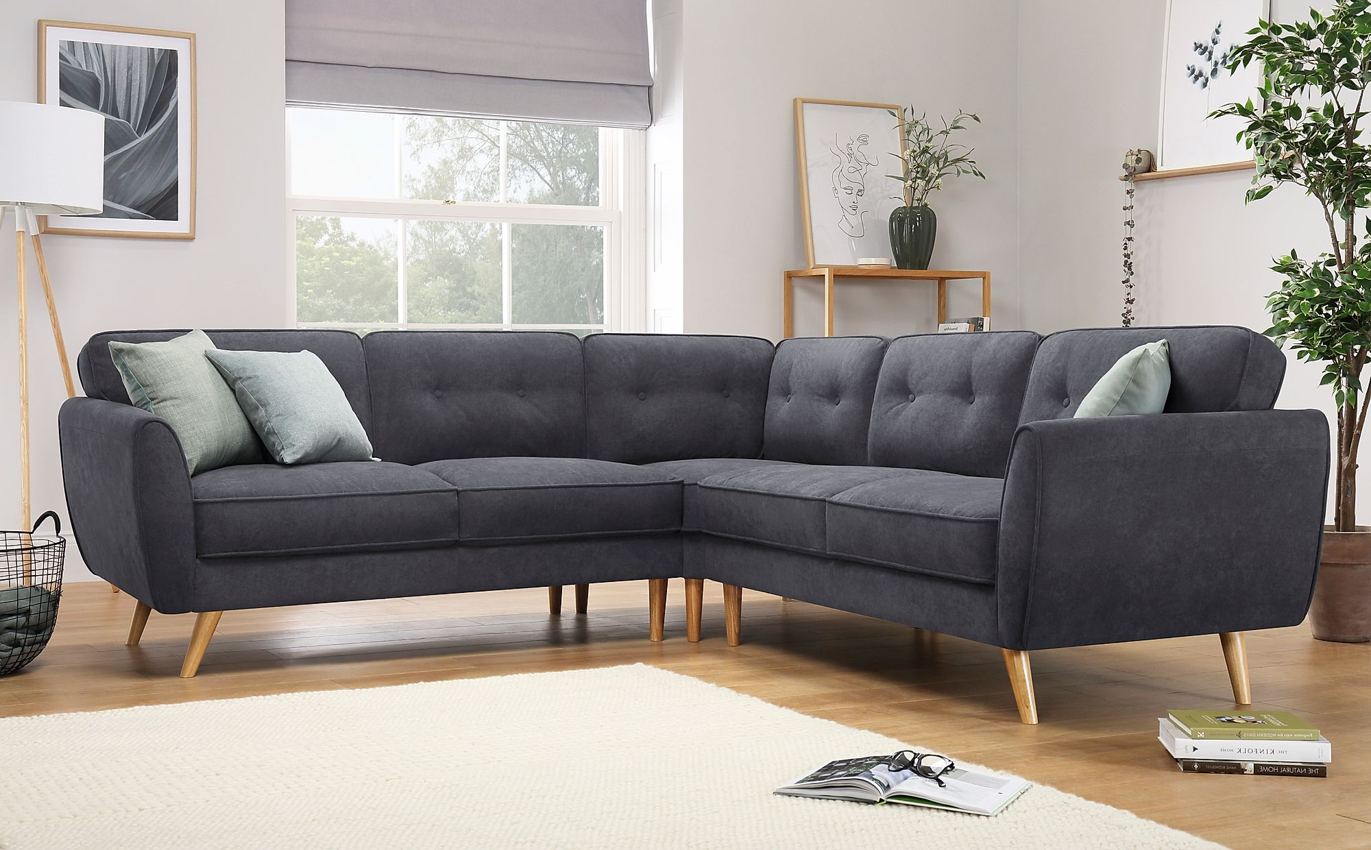 Most Popular Harlow Slate Grey Plush Fabric Corner Sofa (View 2 of 20)