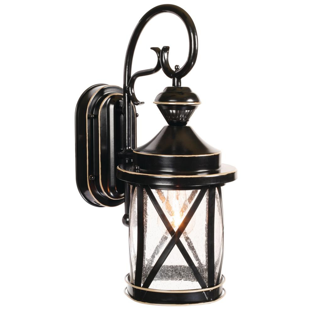 Most Popular Heath Zenith 1 Light Satin Black Motion Activated Outdoor Intended For Heitman Black Wall Lanterns (View 20 of 20)