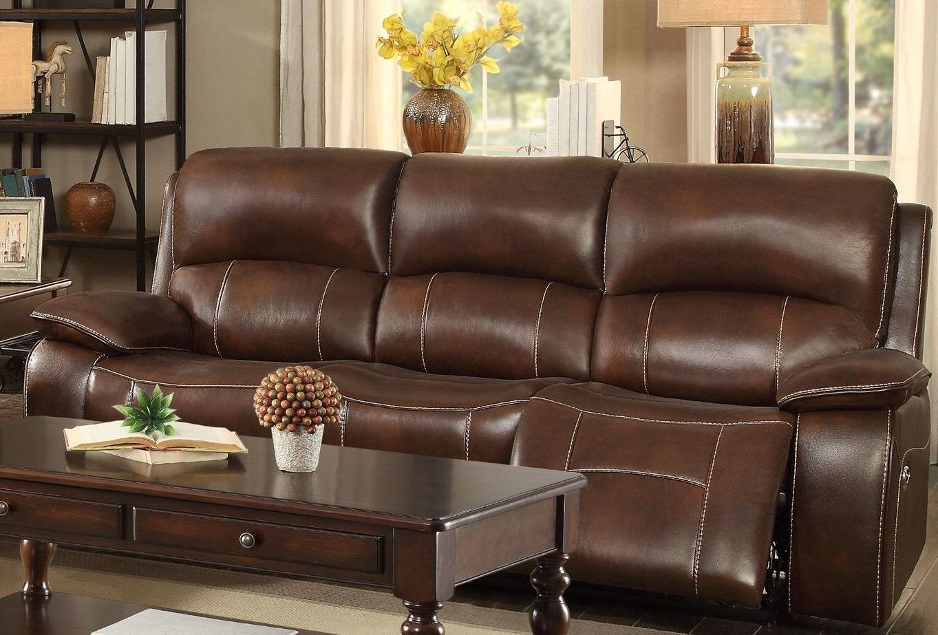 Most Popular Mahala Brown Power Double Reclining Sofa From Homelegance Intended For Expedition Brown Power Reclining Sofas (View 18 of 20)