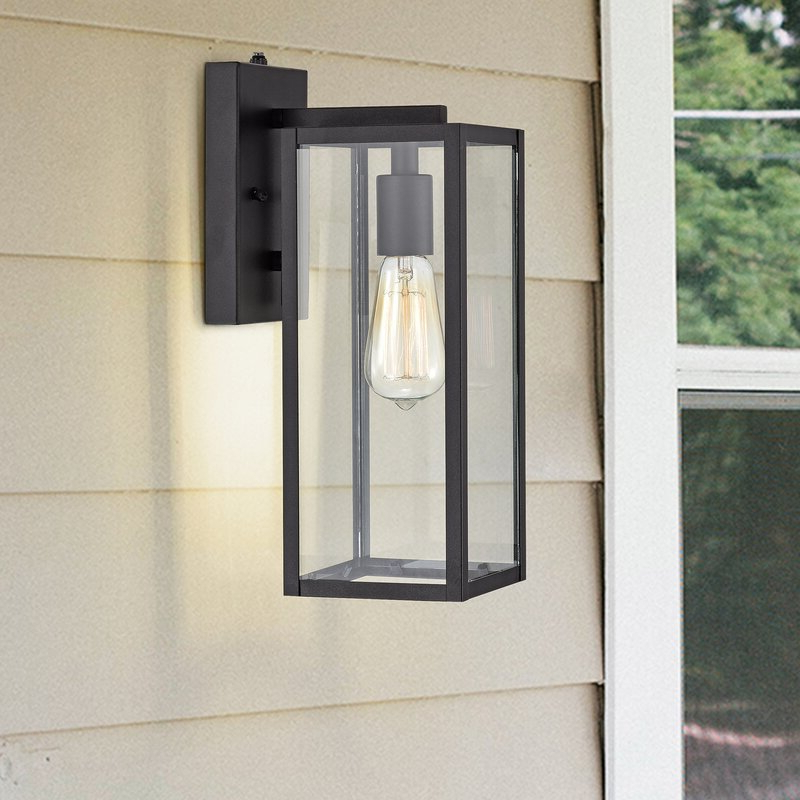Most Popular Manteno Black Outdoor Wall Lanterns With Dusk To Dawn Pertaining To Tatahance Derinda Black 1 – Bulb  (View 7 of 20)