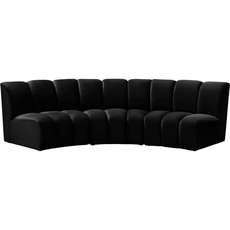 Most Popular Meridian Furniture Infinity Black Velvet 3pc (View 13 of 20)