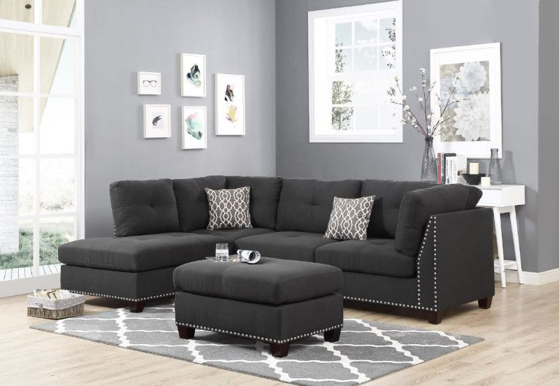 Most Popular Oah D6606 3 Pc Martinique Dark Gray Linen Like Fabric Nail In Radcliff Nailhead Trim Sectional Sofas Gray (View 20 of 20)