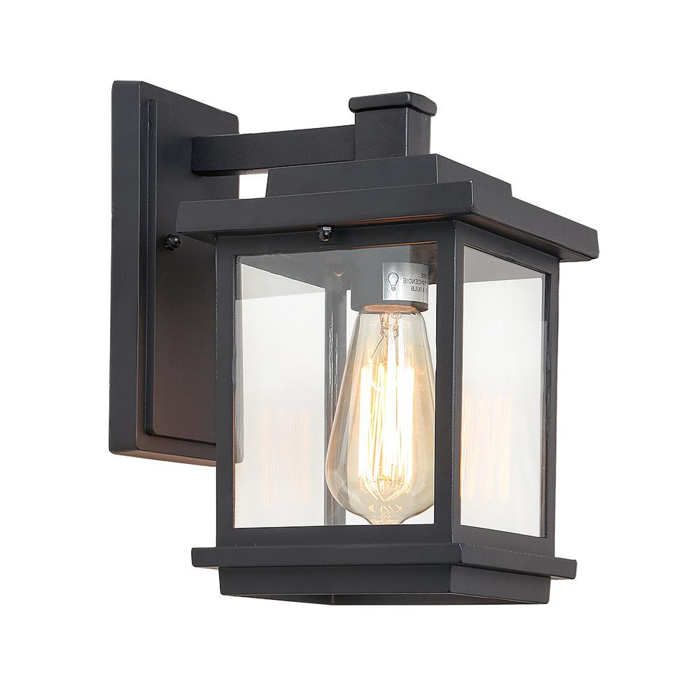 Most Popular Payeur Hammered Glass Outdoor Wall Lanterns Within Lnc Square 1 Light Black Outdoor Wall Mount Lantern With (View 13 of 20)