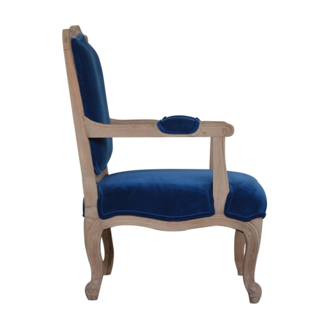 Most Popular Royal Blue Velvet French Style Chair – Artisan Furniture Within Artisan Blue Sofas (View 7 of 20)