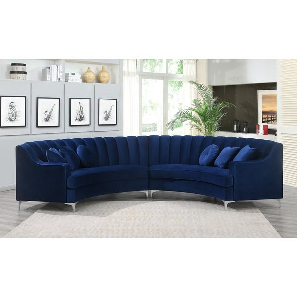 Most Popular Shop Modern Curved Velvet Sectional Sofa – 141.8x28x (View 10 of 20)