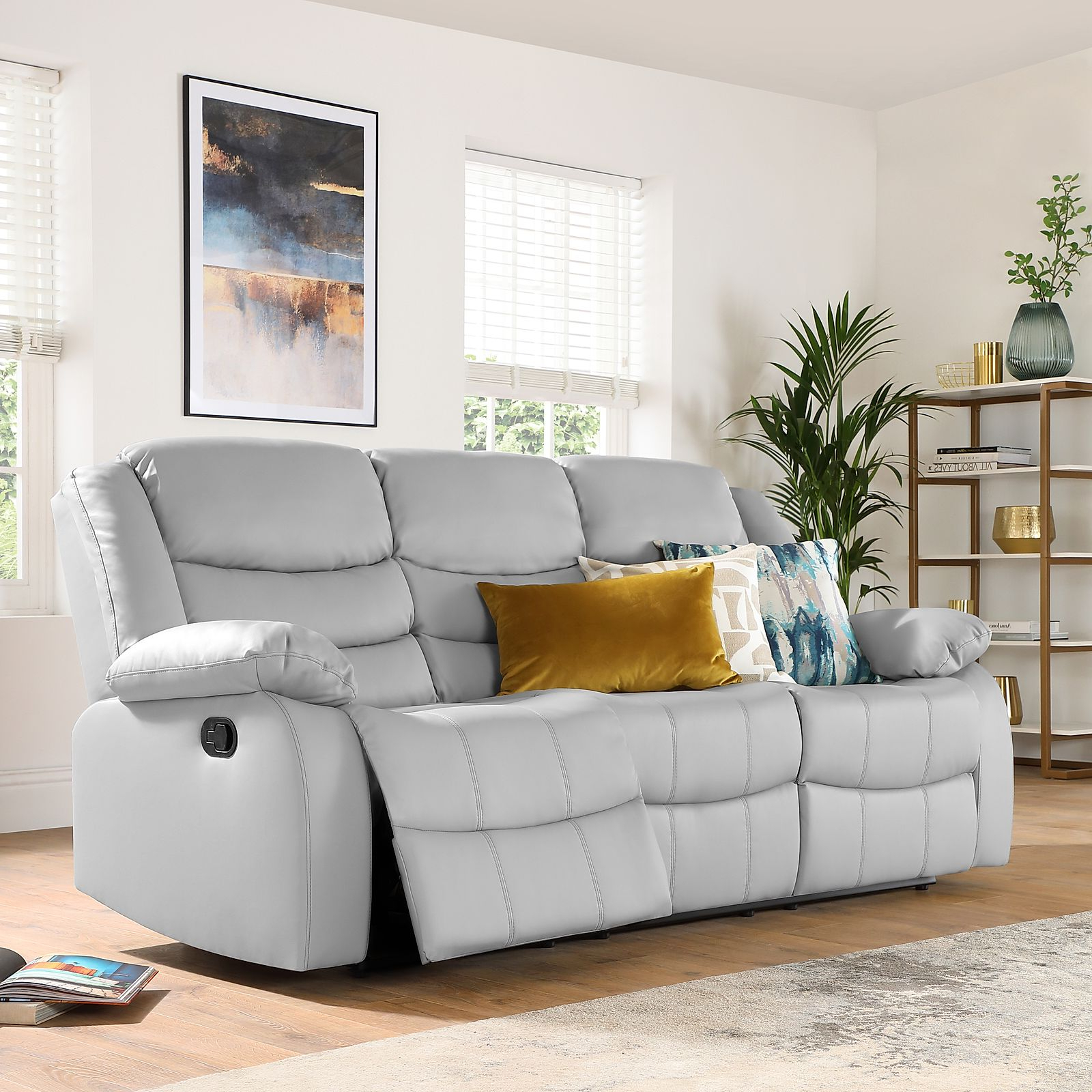 Most Popular Sorrento Light Grey Leather 3 Seater Recliner Sofa Intended For Gray Sofas (View 10 of 20)