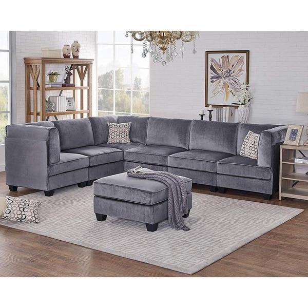 Most Popular Strummer Velvet Sectional Sofas In Shop Simona Gray Velvet 7pc Modular Sectional Sofa – On (View 6 of 20)