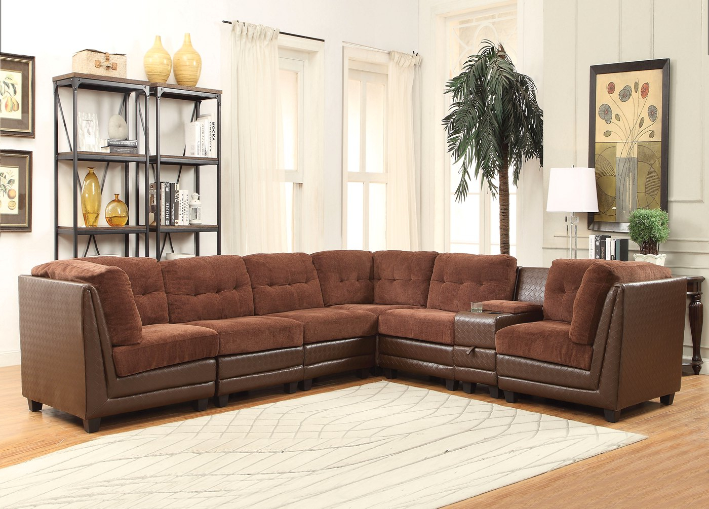 Most Popular Valen 7 Pc Casual Modular Sectional Sofa In Brown Chenille Intended For Paul Modular Sectional Sofas Blue (View 15 of 20)