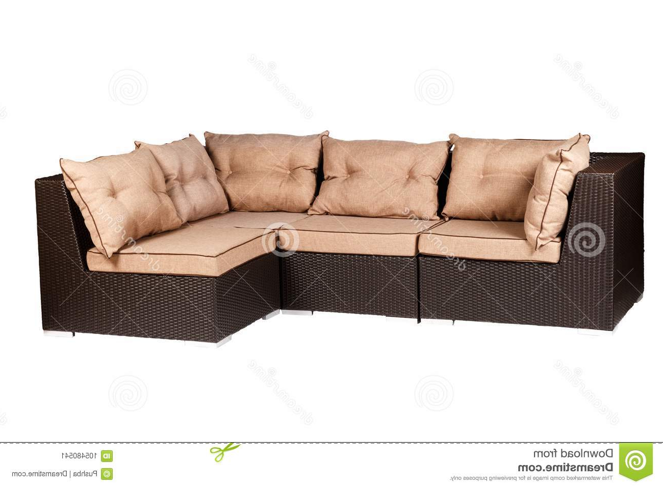 Most Popular Wicker Sofa With Linen Cushions In Sand Color Stock Image Pertaining To Setoril Modern Sectional Sofa Swith Chaise Woven Linen (View 4 of 20)