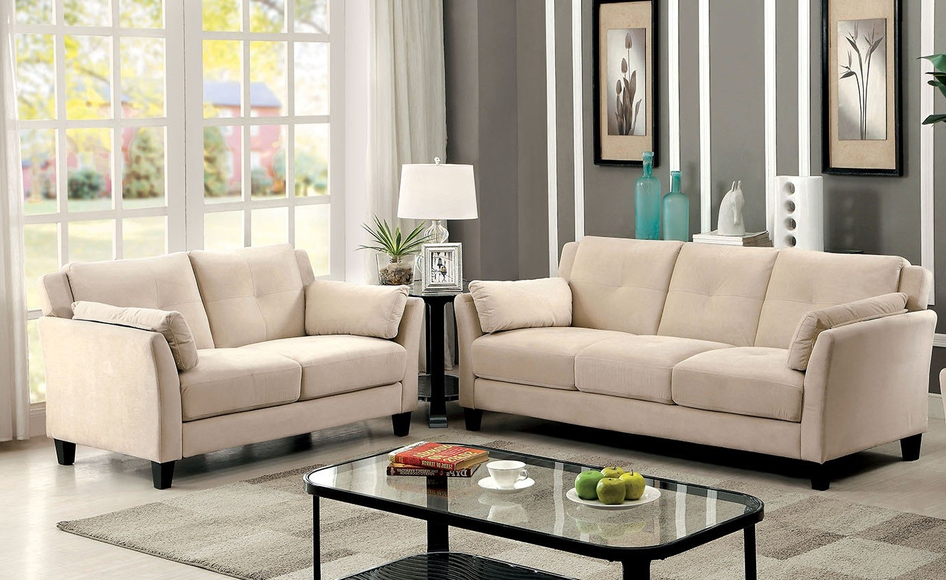 Most Popular Ysabel 2 Pc Sofa And Loveseat In Beige – Sofa Sets Within Beige Sofas (View 13 of 20)
