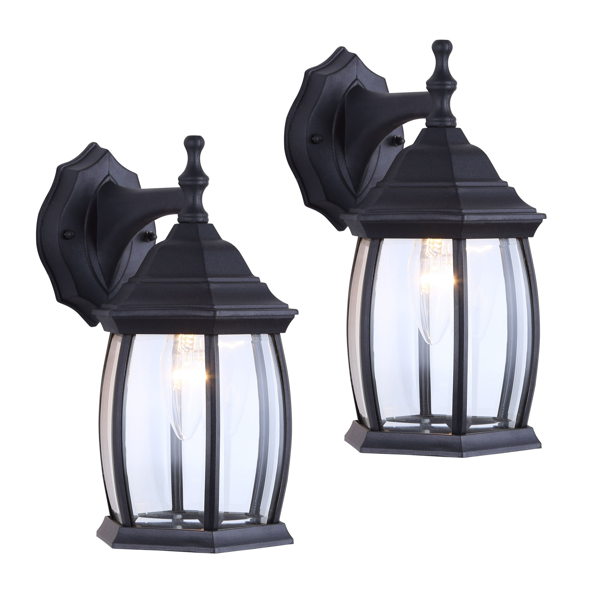 Most Recent 2 Pack Of Exterior Outdoor Light Fixture Wall Lantern Within Bayou Beveled Glass Outdoor Wall Lanterns (View 2 of 20)