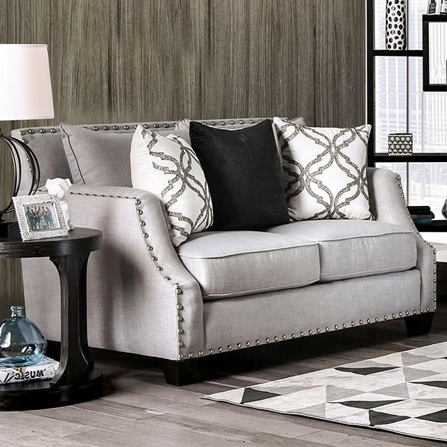 Most Recent 2pc Polyfiber Sectional Sofas With Nailhead Trims Gray Regarding Furniture Of America Phoibe Transitional Gray Nailhead (View 20 of 20)