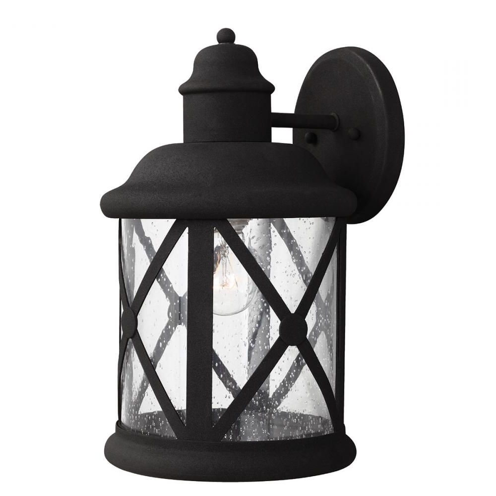 Most Recent Anner Seeded Glass Outdoor Wall Lanterns Inside Lakeview One Light Large Outdoor Wall Lantern In Black (View 6 of 20)