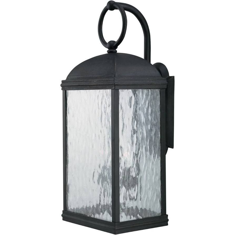 Most Recent Black Coach Lanterns Exterior Sconce Seeded Glass Pertaining To Emaje Black Seeded Glass Outdoor Wall Lanterns (View 5 of 20)