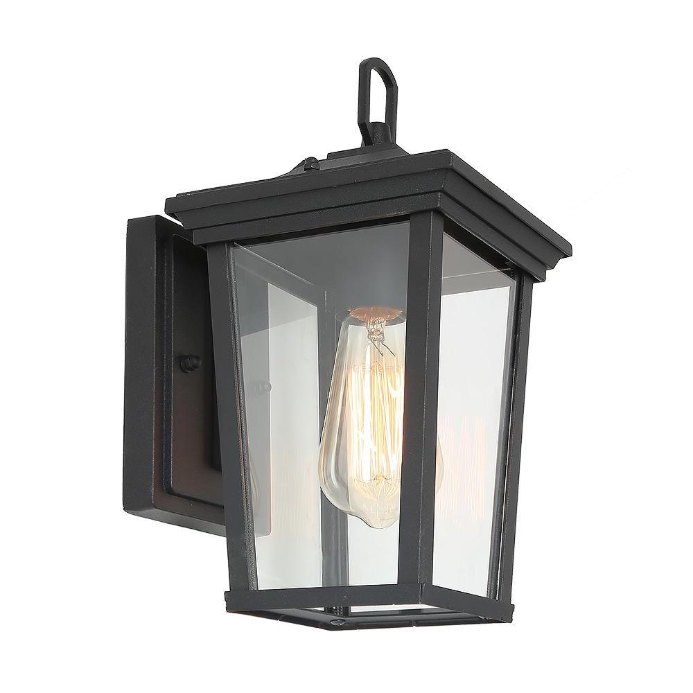 Most Recent Borde Black Outdoor Wall Lanterns Regarding Lnc 1 Light Black 4 In (View 14 of 20)