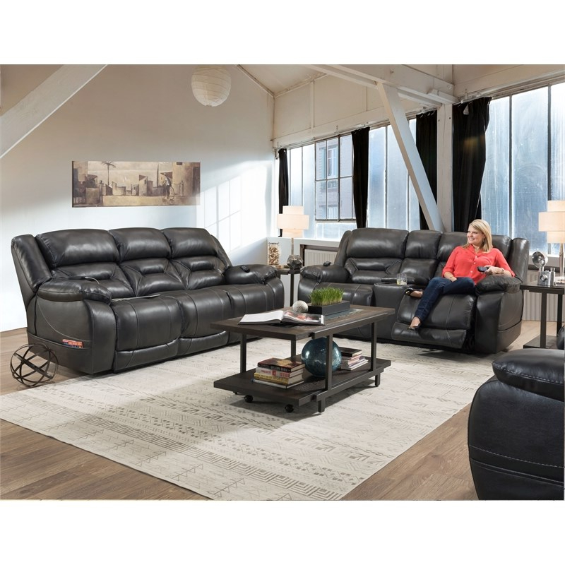 Most Recent Charleston Triple Power Reclining Sofas With Harden Triple Power Sofa Recliner In Gray Leather (View 15 of 20)