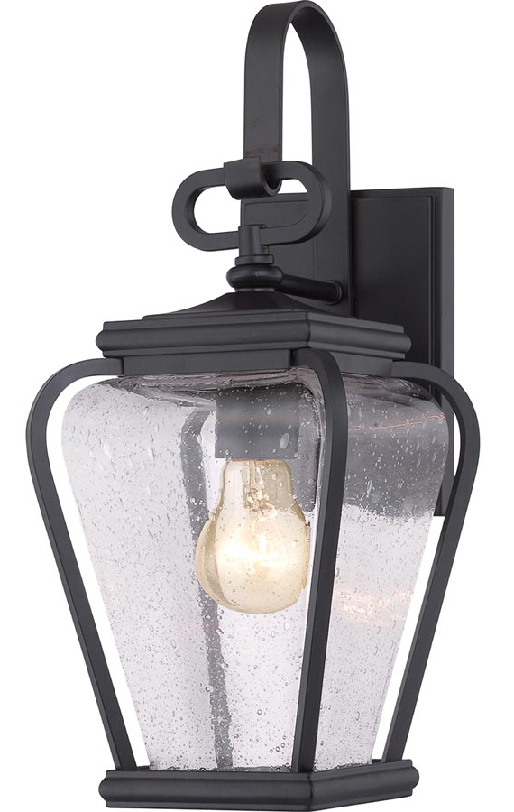 Most Recent Cherryville Black Seeded Glass Outdoor Wall Lanterns Within Quoizel Province 1 Light Outdoor Wall Lantern Mystic Black (View 11 of 20)