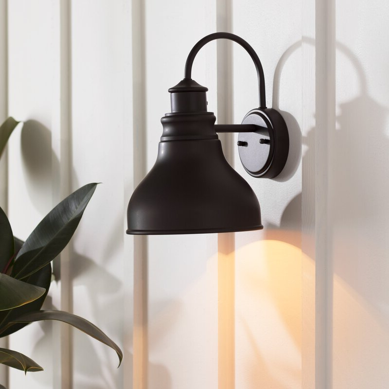 Most Recent Gunnora Outdoor Barn Lights With Dusk To Dawn In Ranbir Oil Burnished Bronze 1 – Bulb Outdoor Barn Light (View 14 of 20)