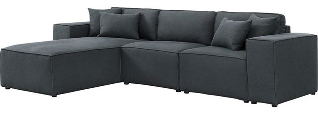 Most Recent Harvey Reversible Sectional Sofa Chaise In Dark Gray Linen Intended For Polyfiber Linen Fabric Sectional Sofas Dark Gray (View 18 of 20)