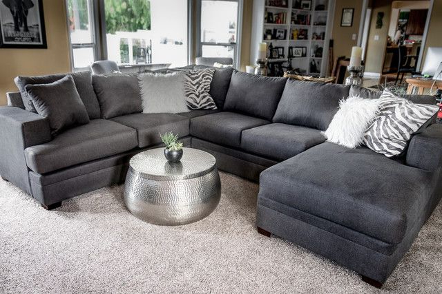 """Most Recent Kerri Charcoal 2 Piece 126"""" Sectional With Left Arm Facing Intended For 2pc Maddox Left Arm Facing Sectional Sofas With Chaise Brown (View 5 of 20)"""