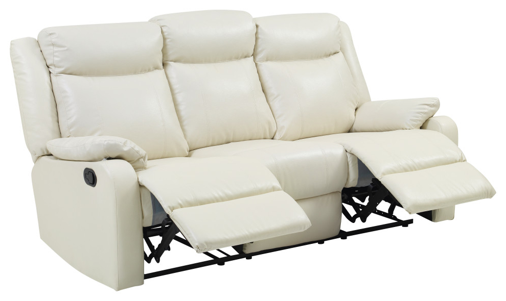 Most Recent Magnus Brown Power Reclining Sofas Regarding Wendover Faux Leather Double Reclining Sofa – Transitional (View 18 of 20)