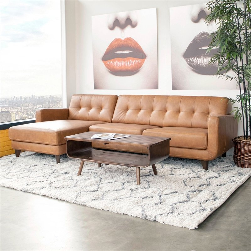 Most Recent Mid Century Modern Davis Tan Genuine Leather Sectional Throughout Alani Mid Century Modern Sectional Sofas With Chaise (View 15 of 20)