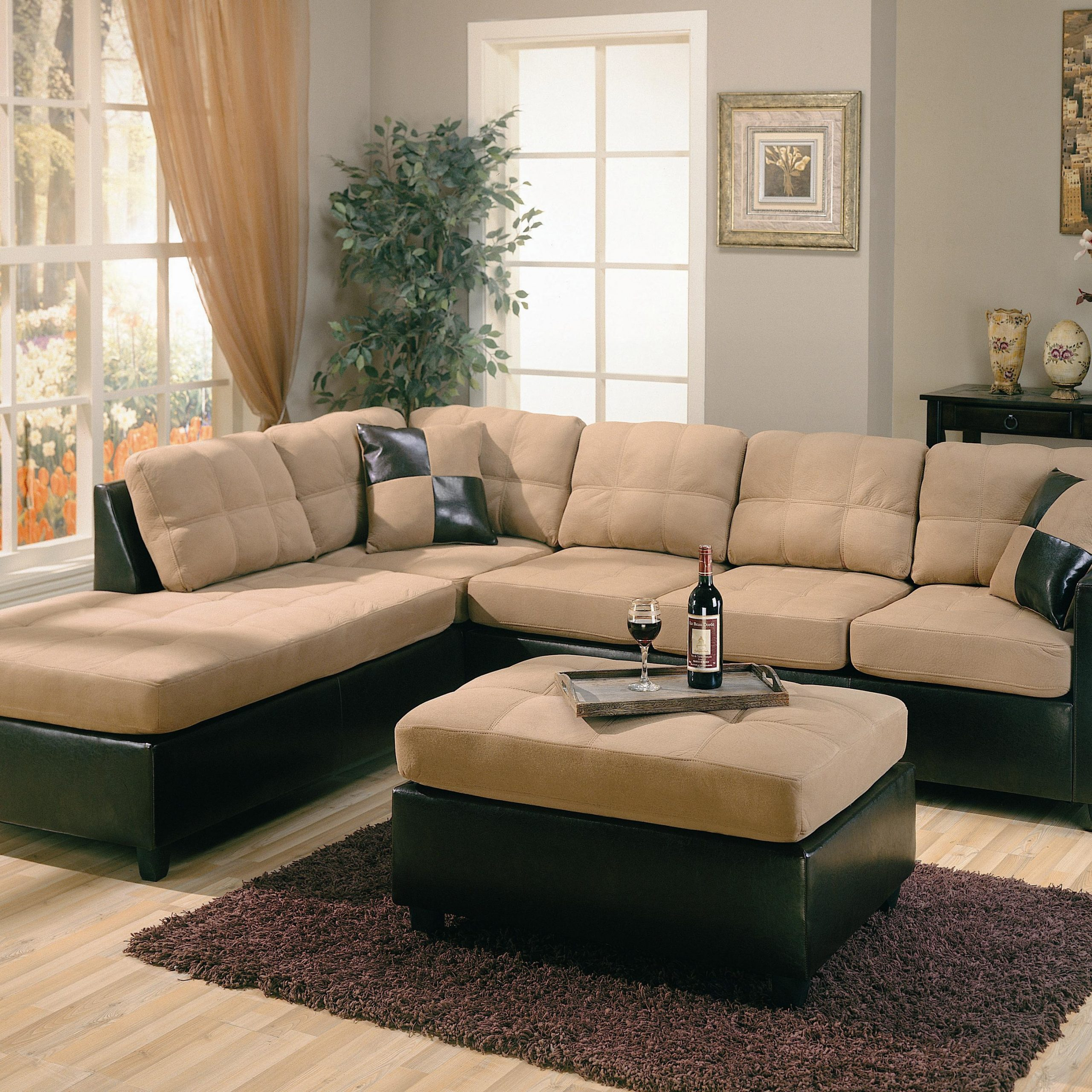 Most Recent Page Title Intended For Bonded Leather All In One Sectional Sofas With Ottoman And 2 Pillows Brown (View 8 of 20)