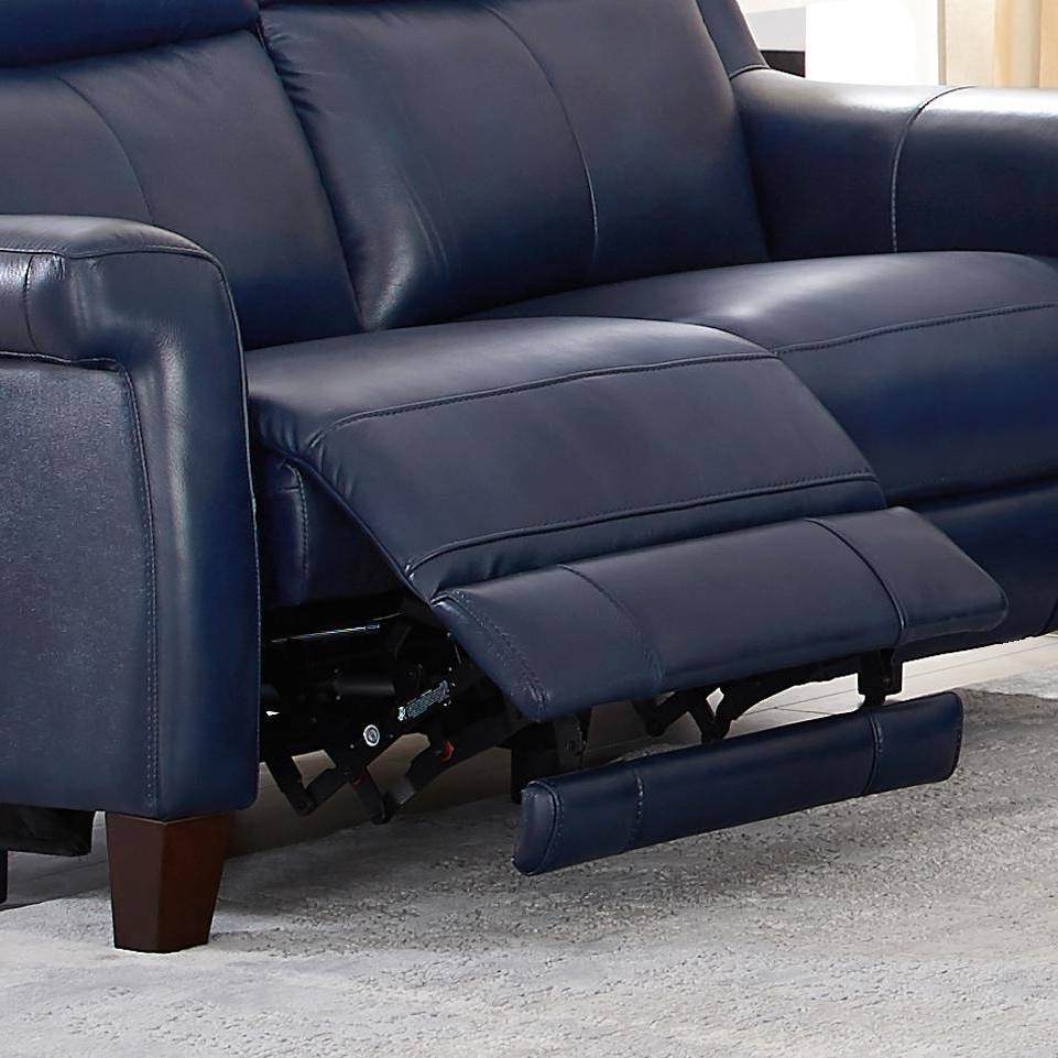 Most Recent Power Reclining Sofas Pertaining To Chatham Blue Genuine Leather Power Reclining Sofa Loveseat (View 5 of 20)
