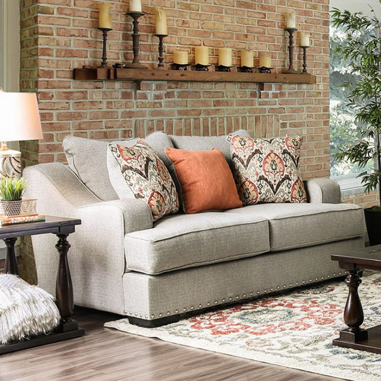 Most Recent Savannah Transitional Sloped Arms Light Grey Sofa Set With Regarding 2pc Polyfiber Sectional Sofas With Nailhead Trims Gray (View 12 of 20)