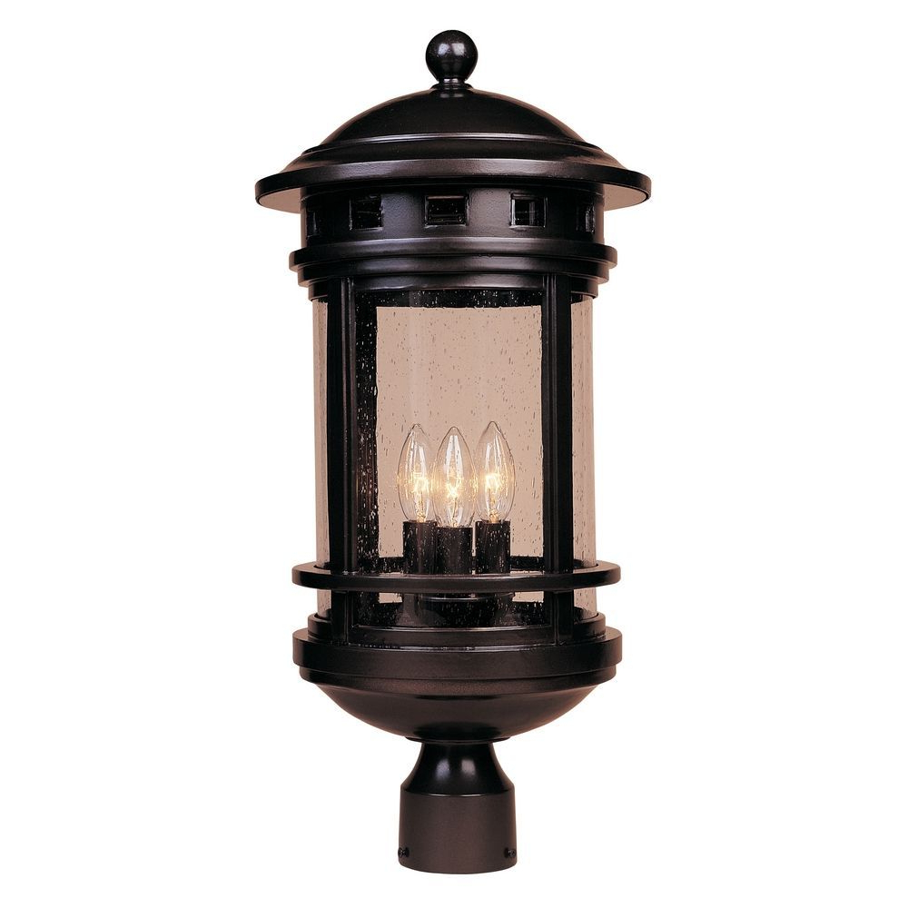 Most Recent Seeded Glass Post Light Oil Rubbed Bronze Designers Within Verne Oil Rubbed Bronze Beveled Glass Outdoor Wall Lanterns (View 8 of 20)