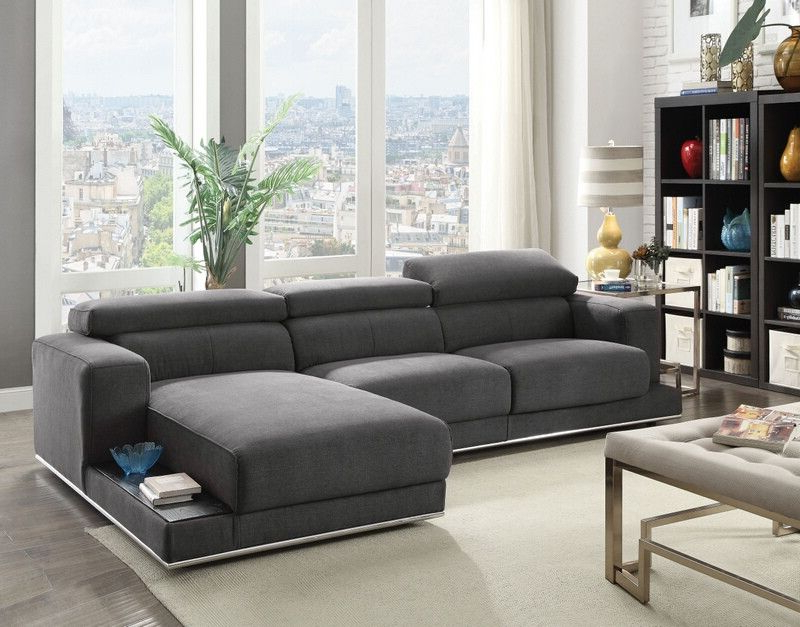 Most Recently Released Acme 53720 23 2 Pc Alwin Dark Gray Fabric Modular In 2pc Burland Contemporary Chaise Sectional Sofas (View 20 of 20)
