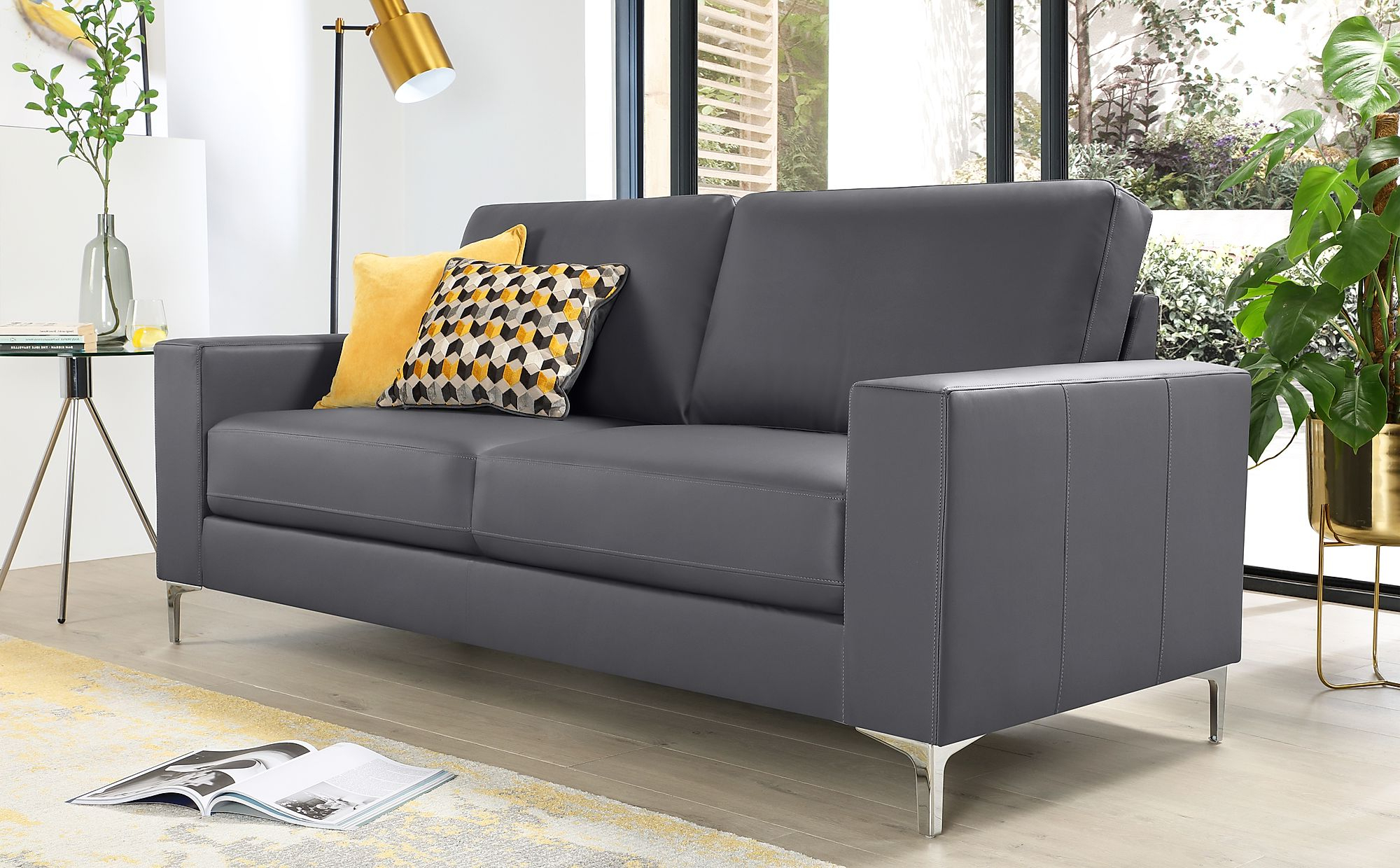 Most Recently Released Baltimore Grey Leather 3 Seater Sofa (View 12 of 20)
