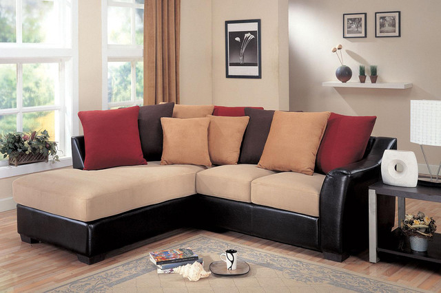 Most Recently Released Bonded Leather All In One Sectional Sofas With Ottoman And 2 Pillows Brown For Coaster Small Beige Microfiber Leather Sectional Sofa (View 6 of 20)