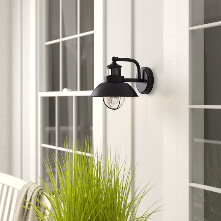 Most Recently Released Brook Black Seeded Glass Outdoor Wall Lanterns With Dusk To Dawn Regarding Industrial Lodge Home Clarisa Seeded Glass Outdoor Barn (View 4 of 20)
